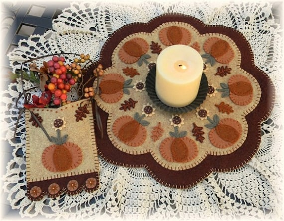 Once Upon A Pedestal Penny Rug Kit Pre Cut and Pre Washed Applique Kit Fall Pattern