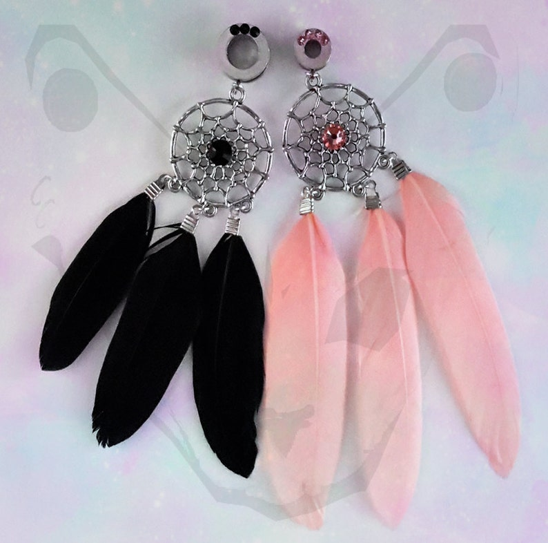 Golden Dreamcatcher Feather Dangle PlugsSold as Pairs