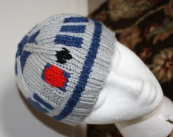 CUSTOM KNIT R2D2 Hat - Star Wars - Artoo Droid Hat - Knit Robot Hat for  Child or Adult 3a4343f57cd