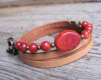 Natural leather and natural Coral bracelet