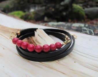 Natural leather and natural Jade bracelet
