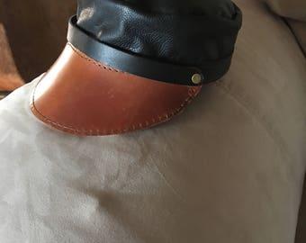 4614ed08d43d8b Leather bikers hat | Etsy