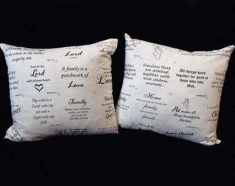 TWO Christian Scripture Zippered Pillow Covers - Set of 2