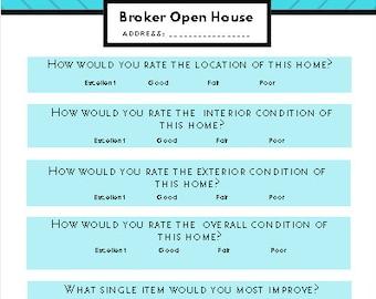 broker open house questionnaire Open house feedback | Etsy