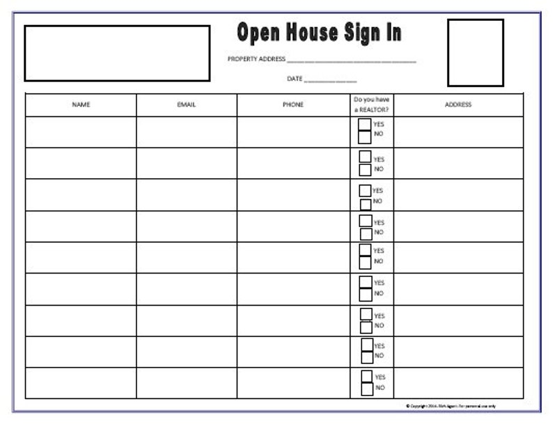 This is an image of Zany Real Estate Open House Sign in Sheet Printable