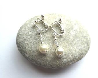 Ivory & Silver Clip On Earrings, Bridesmaid Earrings, Flower Girl Earrings, Girls Clip on Earrings,  Ladies Clip On Earrings   Pearl Hooks