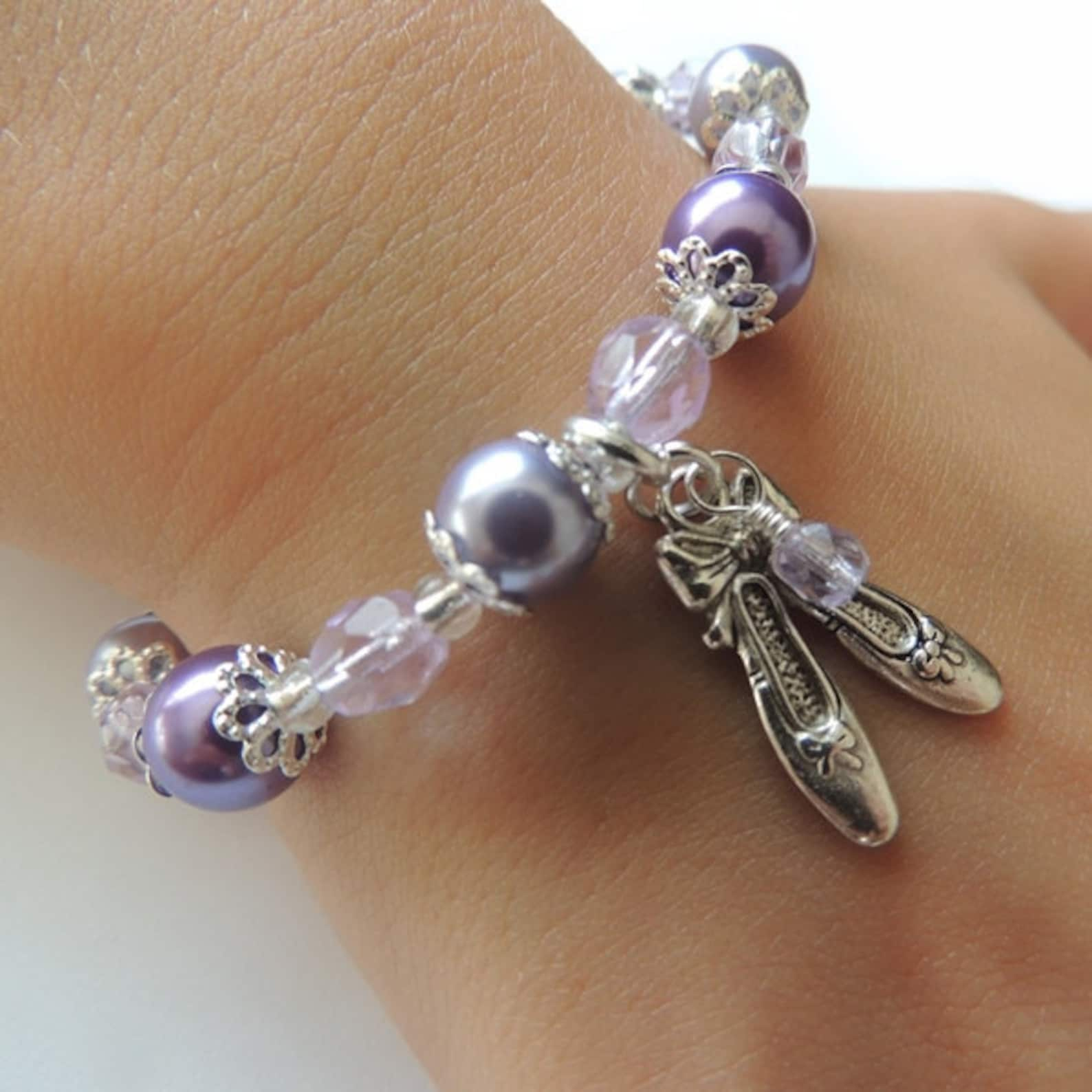 purple girls ballet shoes bracelet | bridesmaid bracelet| flower girl bracelet | ballet charm bracelet |gifts for girls | girls