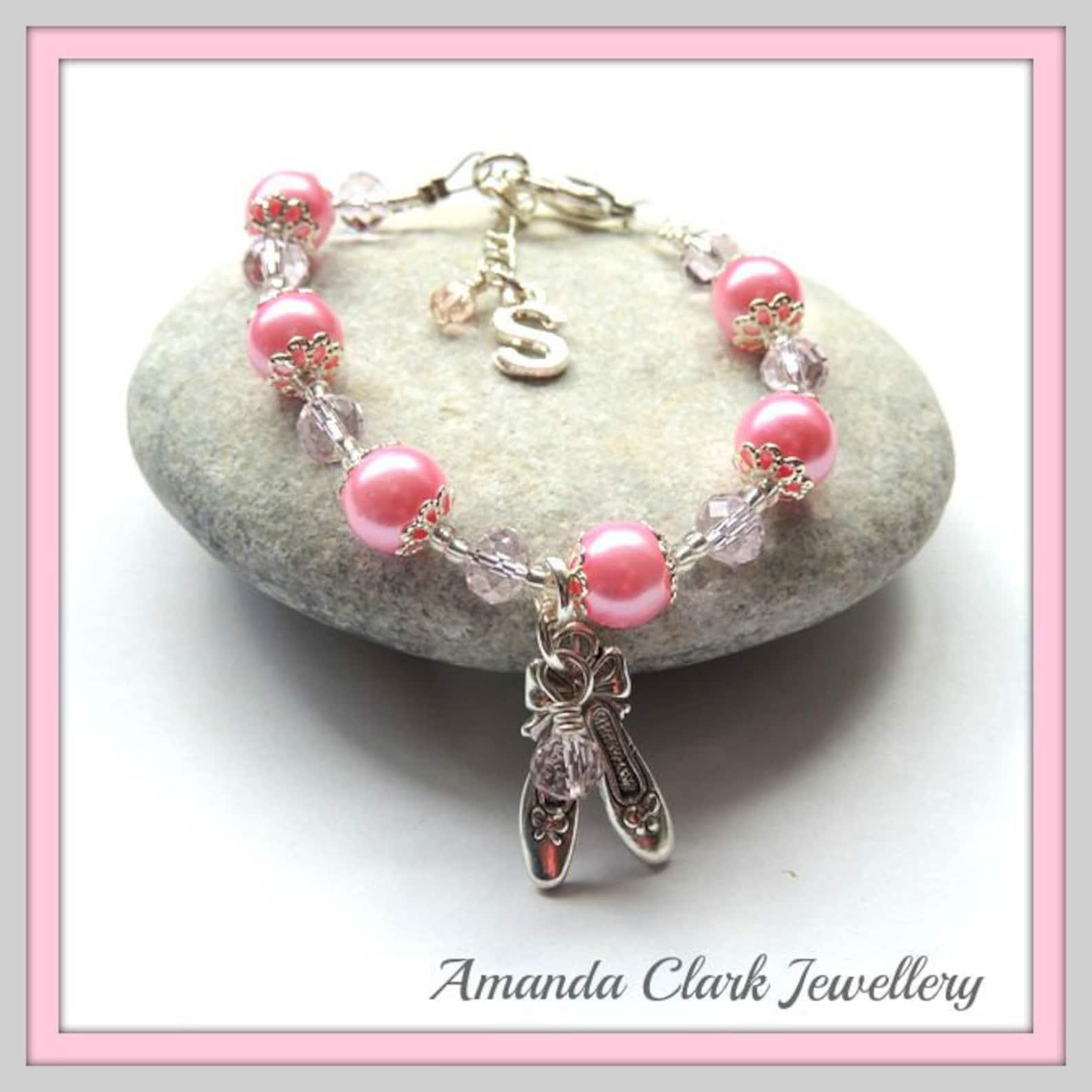 personalised pink ballet shoes bracelet   bridesmaid bracelet   personalised flower girl bracelet   ballet charm bracelet  gifts