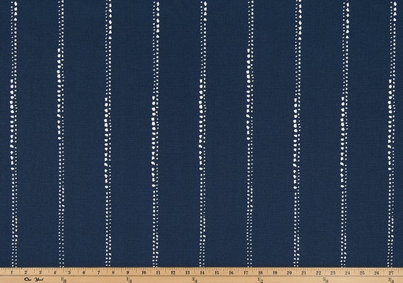 Indigo Navy and White Minimalist Stripe Fabric by the Yard Designer Cotton Home Decor Drapery Curtain or Upholstery Fabric Indigo Blue B377