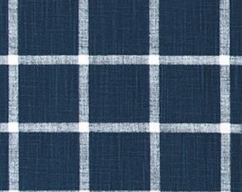 Navy and White Windowpane Checks Slub Cotton Drapery Curtain or Upholstery Fabric by the Yard Dark Blue & White Plaid Home Decor Fabric M399