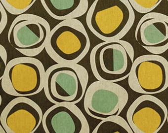 Mid Century Inspired Designer Fabric In Brown, Aqua, Mustard, U0026 Oatmeal  Cotton Drapery