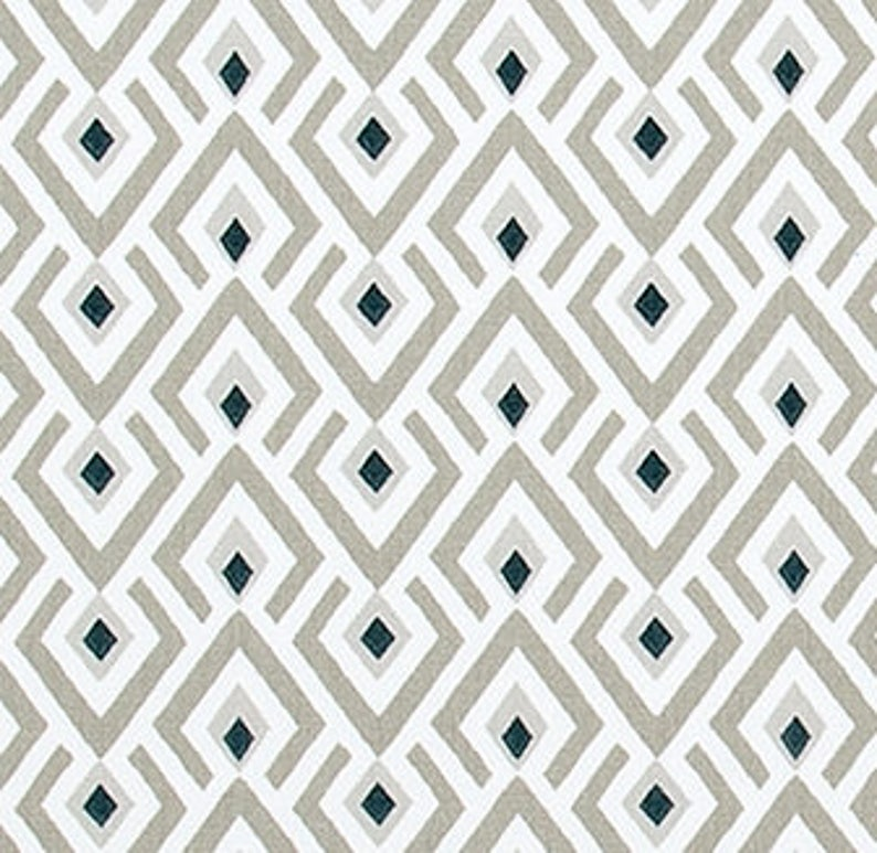 Geometric Taupe Gray Navy And White Fabric Designer Home Decor Etsy