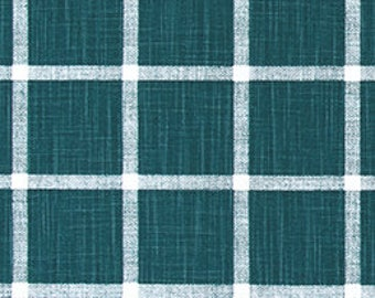 Dark Teal and White Windowpane Check Slub Cotton Drapery Curtain or Upholstery Fabric by the Yard Green & White Plaid Home Decor Fabric M408