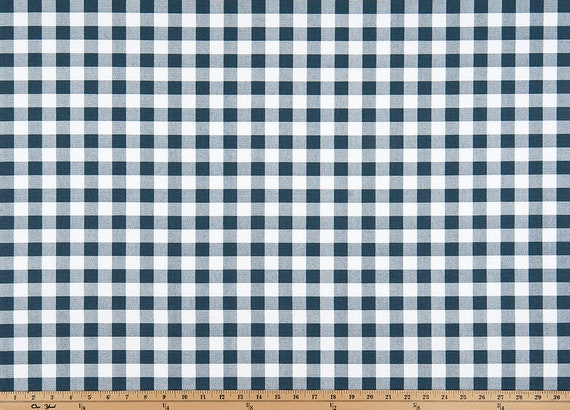 Country Navy Gingham Check Fabric by the Yard Designer Cotton Home Decor Fabric Drapery Curtain or Upholstery Fabric Navy Plaid Fabric C336