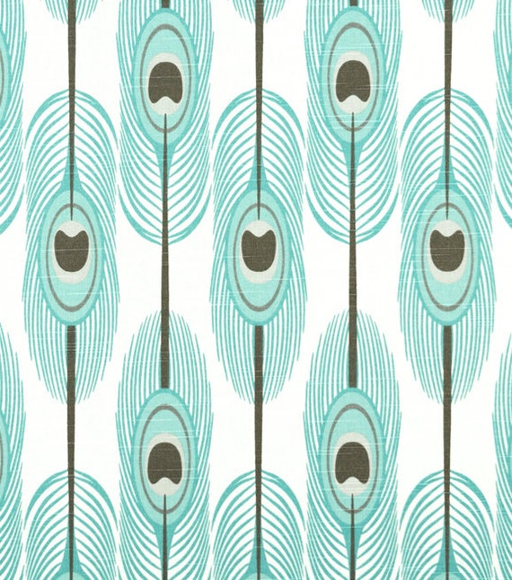 Turquoise Drapery Upholstery Fabric Cotton Slub Contempory Feather Design