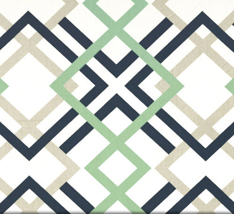 Navy Tan And Soft Green Designer Geometric Home Decor Fabric Etsy