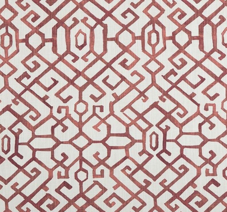 Drapery Upholstery Fabric 100/% Cotton Geometric Art Deco Print Tomato Red