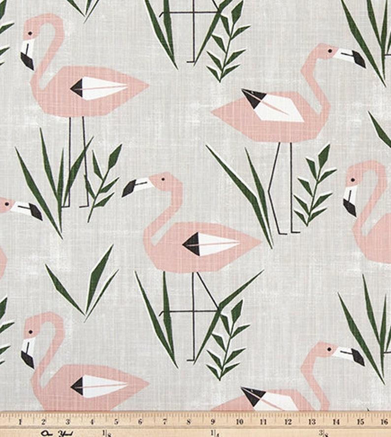 Pink and Green Slub Cotton Canvas M125 Pink Flamingo Designer Fabric by the Yard Home Decor Beach Cottage Craft Fabric Drapery Fabric Gray