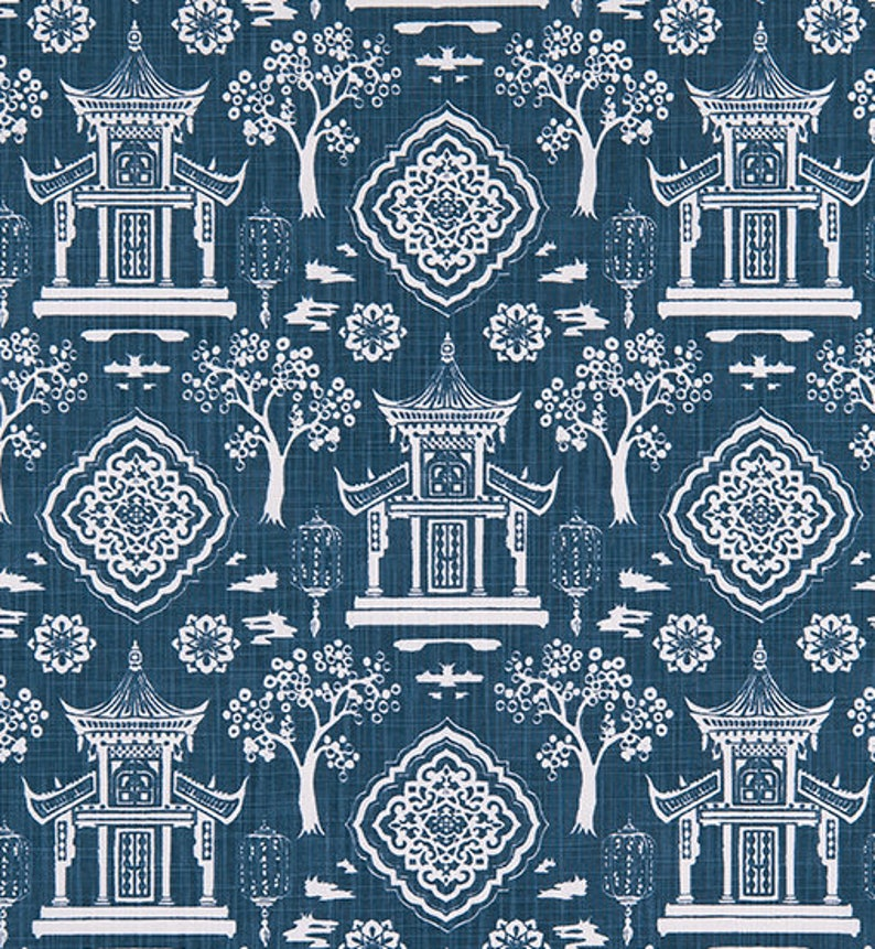 Navy and White Asian Home Decor Fabric by the Yard Designer image 0