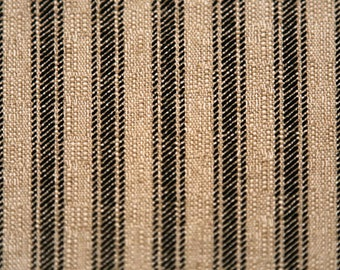 Black and Tan Stripes Designer Home Decor Fabric by the Yard Cotton Blend Upholstery Drapery or Craft Fabric Traditional Ticking Fabric M194