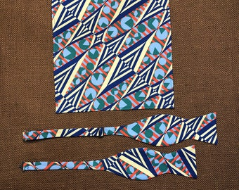 Adult Tribal Print Bow Tie /& Square