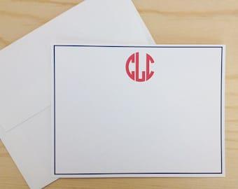 Personalized Custom Circle Monogram Stationery Flat Notecards - Set of 25