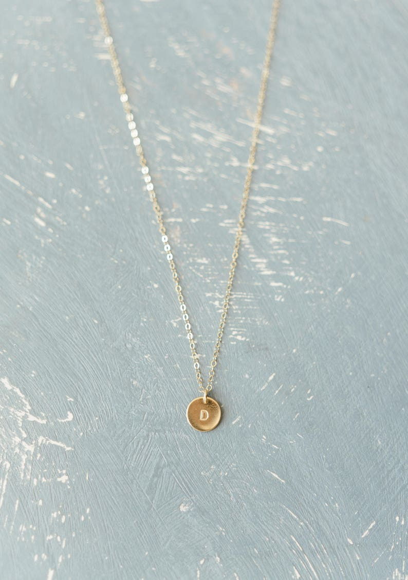 Custom Initial Small Disc Necklace Dainty Necklace image 0; holiday gift guide for her