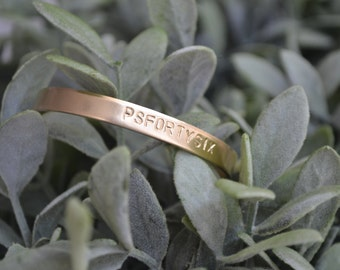 Gold or Brass Custom Cuff Bracelet, Personalized Bracelet, Hand-Stamped, Brass, Gift for Her, Mantra Bracelet, Bridesmaid Gift, Hand-Stamped