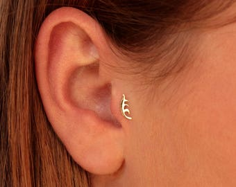 Tiny Gold 14k Earrings, Gold Tragus Piercing,Rose gold Cartilage Earrings, Tragus Piercing, Tragus Earrings, Tragus Jewelry, Silver Earrings
