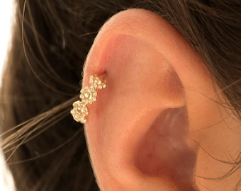 Indian Ear Piercing, Silver Cartilage, Ear Cuff, Gold Helix, Nose Ring, Cartilage Earring, Helix Hoop, Rook, Tiny Gold Earring, 16g - 20g