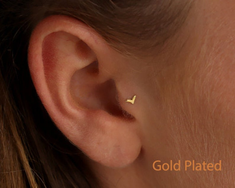 Tragus Earring Tragus Jewelry Tragus Piercing Gold Tiny Tragus Stud Gold Tiny Nose Stud Fits Helix Cartilage Piercing Bird 20g Screw