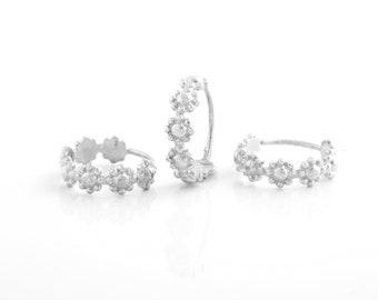 Small Hoop Earrings, Tiny Hoop Earrings, Silver Flowers Earrings, Gold Small Hoop Earrings, Rose Gold Hoop Earrings, Bridal Small Hoops
