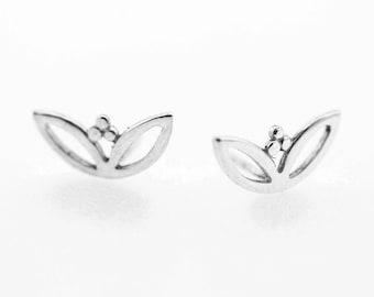 Lotus Earrings, Post Earrings, Silver Stud Earrings, Solid Gold Stud Earrings, Small Earrings, Silver Wedding Earrings, Bridal Earrings