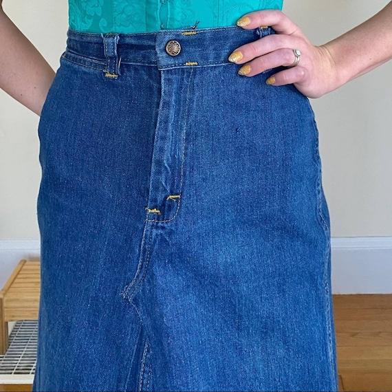 70's Denim Embroidered Mini Skirt Upcycled - image 8