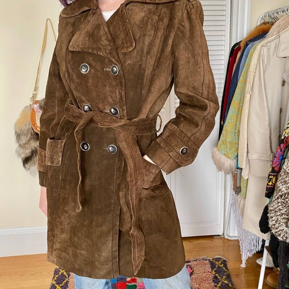 Suede Chocolate Brown Trench Coat Vintage
