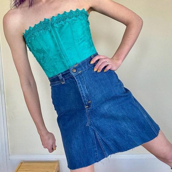 70's Denim Embroidered Mini Skirt Upcycled - image 6