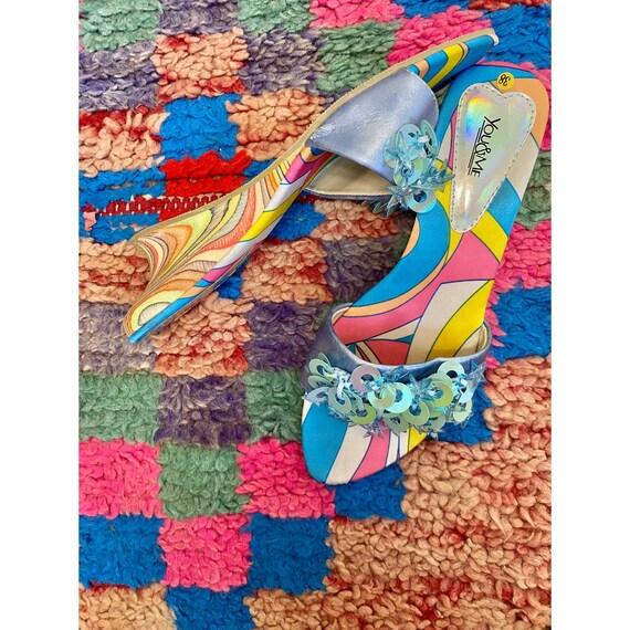 Y2K Psychedelic Rainbow Wedge Kitten Heel Mules
