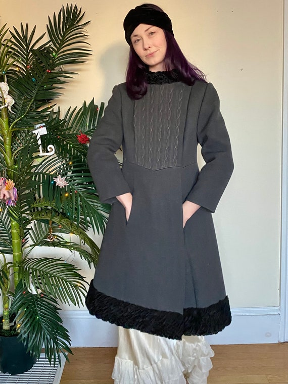 60's Mongolian Curly Lamb Wool Structured Coat