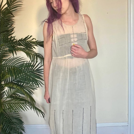 Beaded Cotton Sheer 1920's Antique Dress