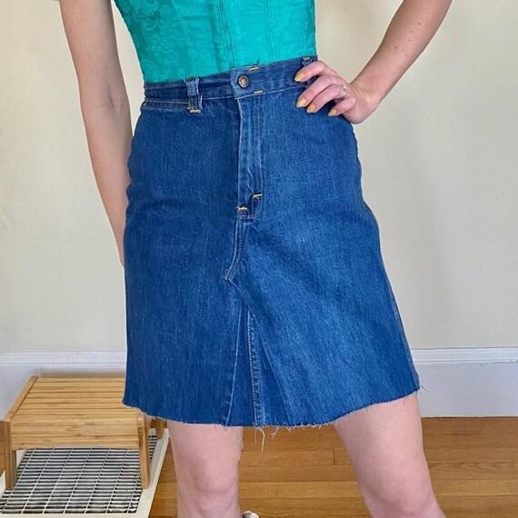 70's Denim Embroidered Mini Skirt Upcycled - image 7