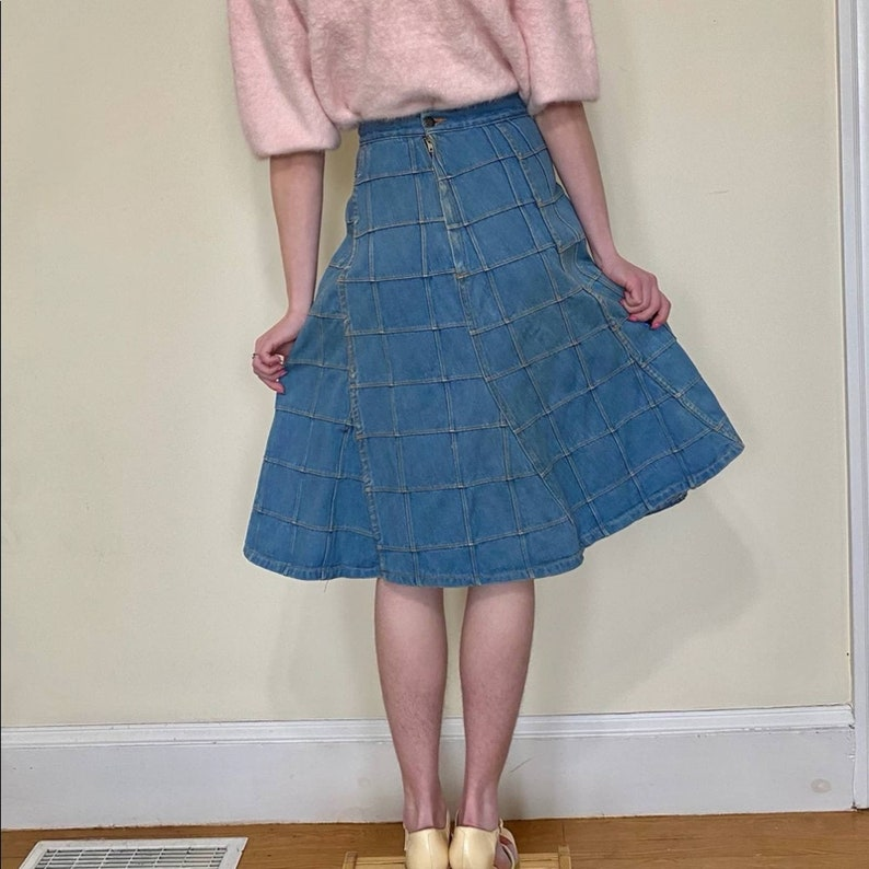 70\u2019s Brittania Patchwork Denim Midi Skirt