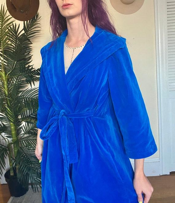 Blue Velvet Robe Chore Coat Vintage 60's