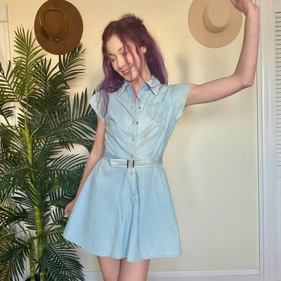 Chambray Denim Mini Dress Skater Skirt Vintage