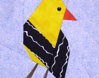 Yellow Finch Paper Pieced Block Pattern in PDF