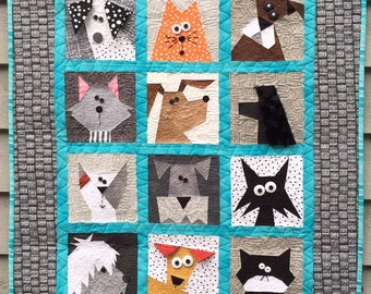 Paper Pieced Cats N' Dogs Pattern in PDF