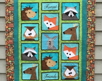 Forest Friends Paper Pieced Quilt / Table Runner Pattern in PDF