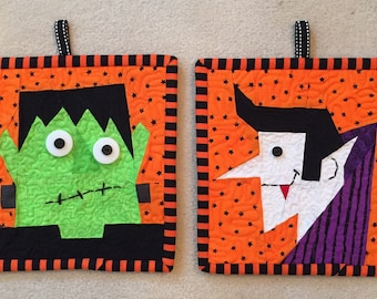 Count Dracula and Frankenstein FREE Paper Pieced Block Patterns in PDF