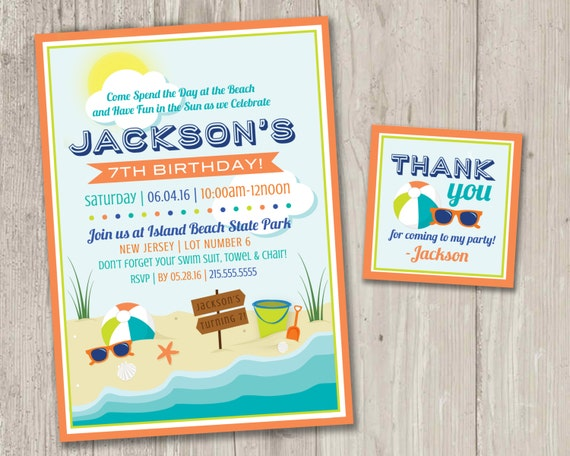 graphic regarding Beach Party Invitations Free Printable named Beach front Occasion Invites Beach front Birthday Summer season Social gathering Printable