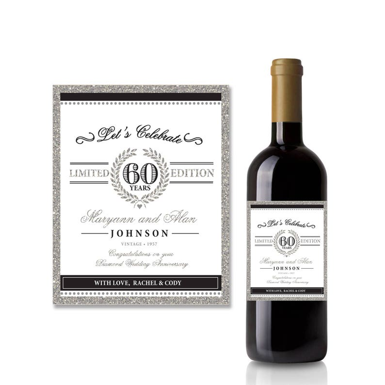 image about Printable Wine Label identified as 60th Anniversary printable wine label, Diamond Wedding day Anniversary, Marriage Anniversary Reward Published