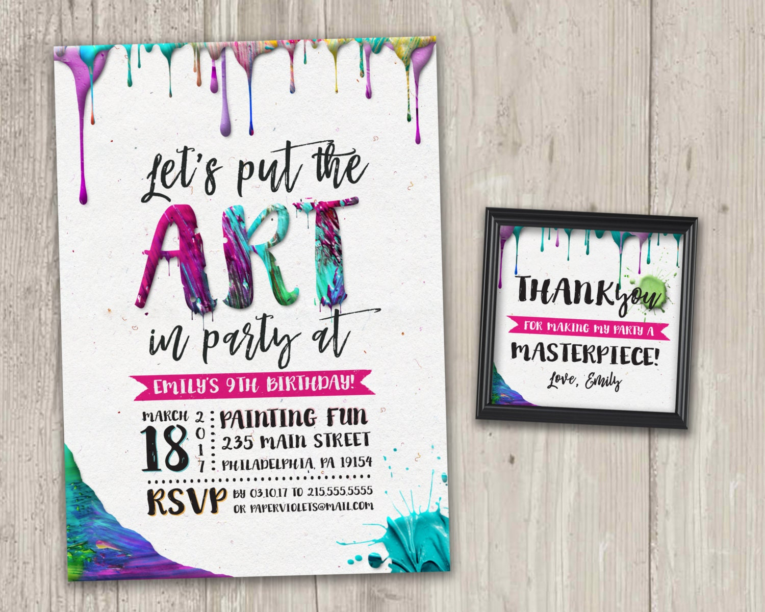 Put The ART In PARTY Art Party Invitation Painting Invite